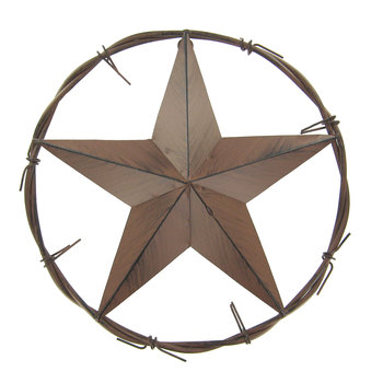 Brown Star In Circle Metal Wall Decor